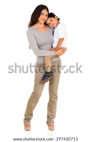 loving young indian mother holding her son on white background - stock photo