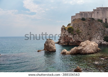 Lovrijenac fort on top of tall rock above the Adriatic sea, Dubrovnik, Croatia - stock photo