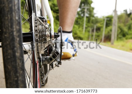Low angle of a cyclist on a bike prepare to go - stock photo