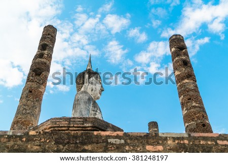 Low angle of old buddha in the temple at Sukhothai Historical Park in Sukhothai Province, Thailand - stock photo