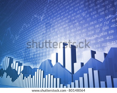 Low angle Stock market bars & charts with random finance data - stock photo
