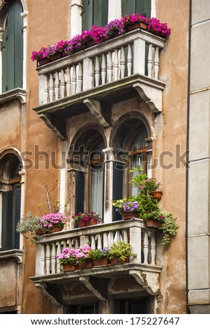 Low angle view of a balcony of residential building, Venice, Veneto, Italy - stock photo