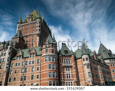 Low angle view of a hotel, Chateau Frontenac Hotel, Quebec City, Quebec, Canada - stock photo