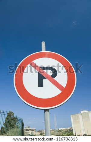 Low angle view of a No Parking sign, Malta - stock photo