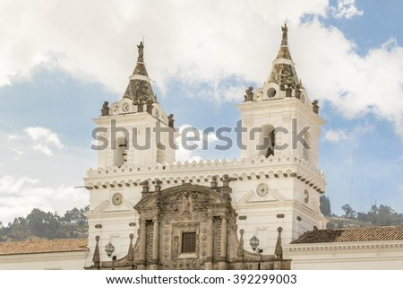 Low angle view of ancient San Franciso catholic church located in the historic center of Quito in Ecuador. - stock photo