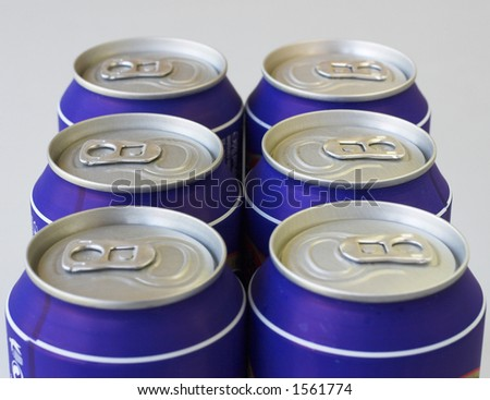Low angle view of cold drinks cans - stock photo