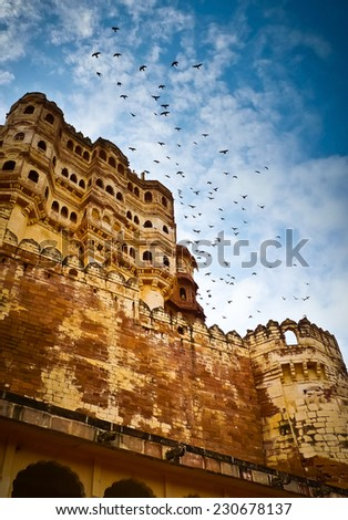 Low angle view of Mehrangarh Fort ramparts and balconies, Jodhpur, Rajasthan, India - stock photo