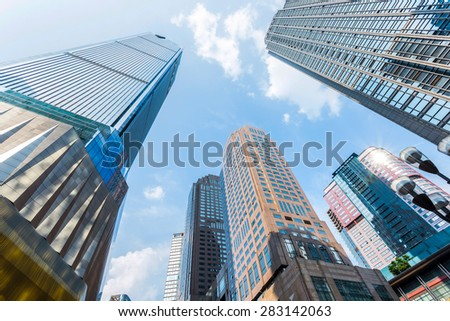 low angle view of skyscrapers - stock photo