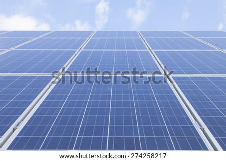 Low angle view of solar panels against sky - stock photo
