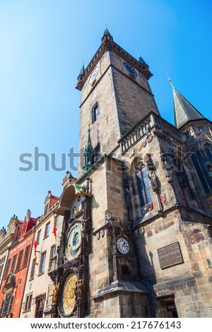 low angle view of the City Hall Tower with the famous astronomical clock in Prague, Czechia - stock photo