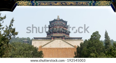 Low angle view of the Tower of Buddhist Incense, Longevity Hill, Summer Palace, Haidian District, Beijing, China - stock photo