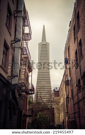 Low angle view of the Transamerica Pyramid San Francisco designed by William Pereira - stock photo