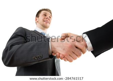 Low Angle View Of Two Businessman Shaking Hand - stock photo