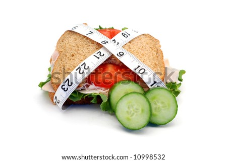 Low-carb diet concept with a whole wheat turkey sandwich isolated on white - stock photo