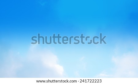 low contrast of sky, sky blue filter - stock photo