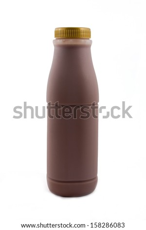 Low-fat chocolate milk isolated on white - stock photo
