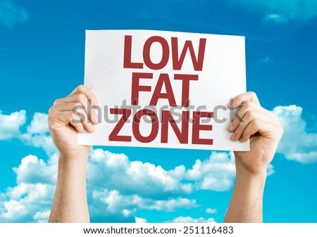 Low Fat Zone card with sky background - stock photo