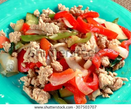 Low glycemic ground chicken stir fry - stock photo