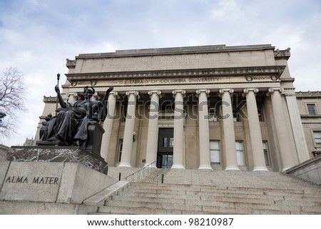 Low Memorial Library at Columbia University with the statue of Alma Mater, New York City - stock photo