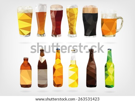 Low Poly Beer Bottles and Glasses - stock photo