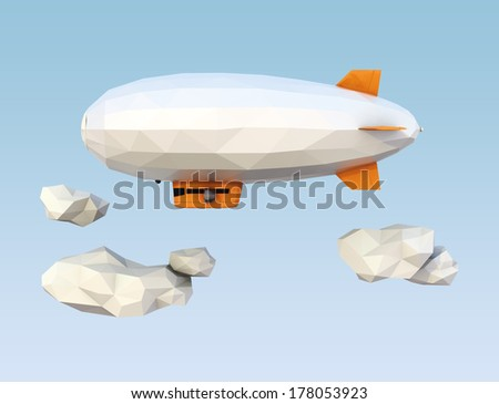 Low Poly blimp flying in the air with copy space - stock photo