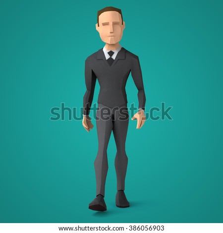 Low poly business man - stock photo