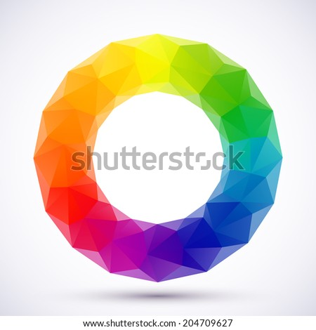Low-poly color wheel. - stock photo
