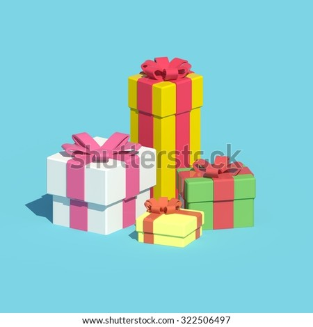 Low-poly colorful gift boxes isolated on light blue background - stock photo