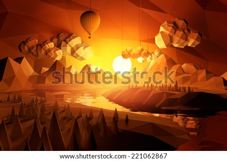 Low poly 'hand made' feel landscape with mountains and a river at sunset. - stock photo