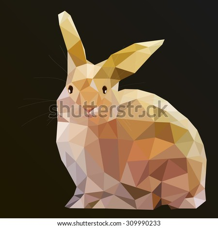 Low Poly Hare Rabbit art from my Wild Life low poly series. - stock photo
