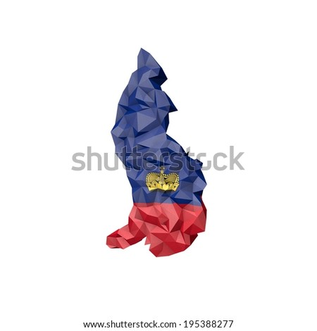 Low Poly Lichteinstein Map with National Flag - Infographic Illustration - stock photo