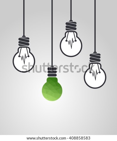 Low poly light bulb different among the others. Copy space. Ecological concept. Innovative concept - stock photo