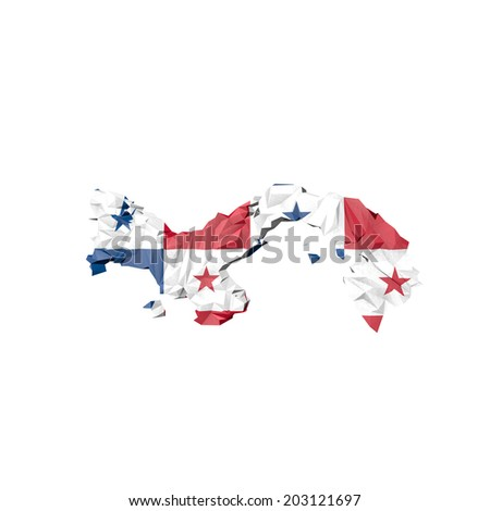 Low Poly Panama Map with National Flag - Infographic Illustration - stock photo