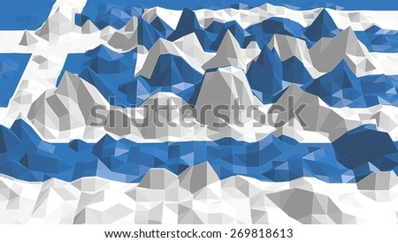 low poly relief surface textured by greece national flag - stock photo