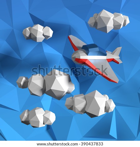 Low poly sky with clouds and small airplane.  - stock photo