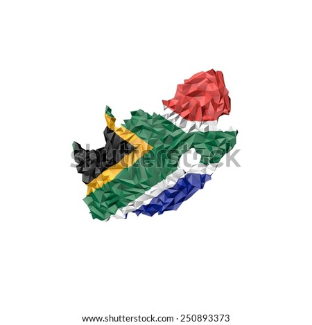 Low Poly South Africa Map with National Flag - Infographic Illustration - stock photo