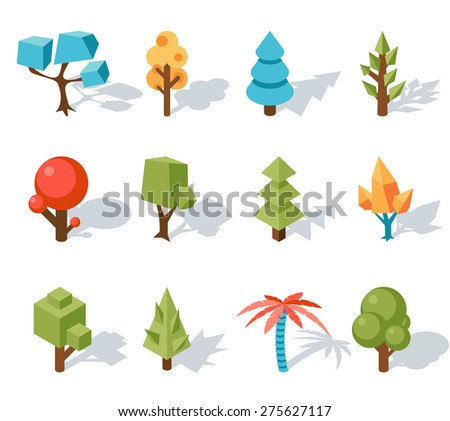 Low poly tree icons, isometric 3D. Forest and leaf, palm and trunk, colorful foliage, tropical floral - stock photo