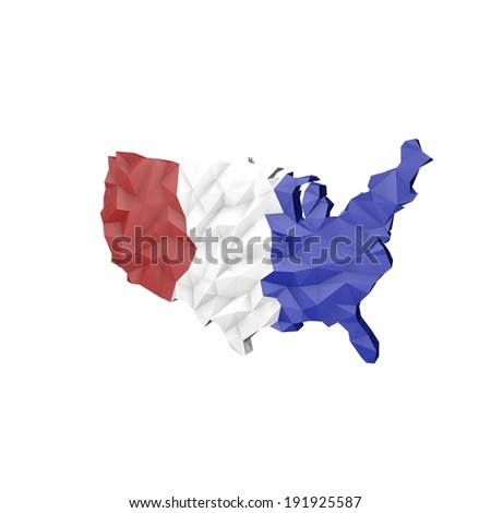 Low Poly USA Map with National Colors - Raster Illustration - stock photo