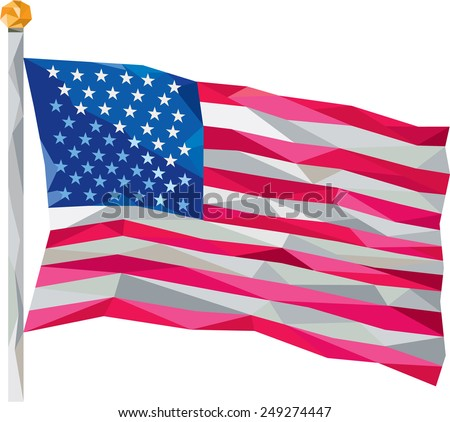 Low polygon illustration of usa american flag stars and stripes set on isolated white background. - stock photo