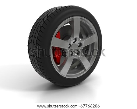 Low Profile Tire With Red Disc Brake - stock photo