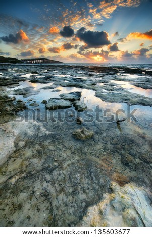 Low tide at the Florida Keys Islands. View from West Summerland Key, USA. - stock photo