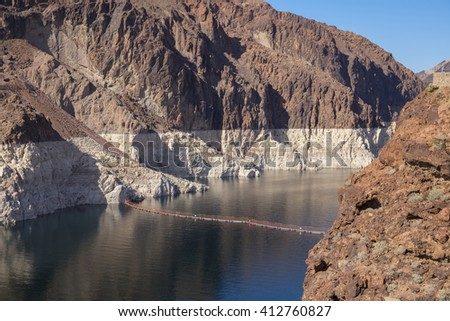 Low water level storage at Hoover Dam - stock photo