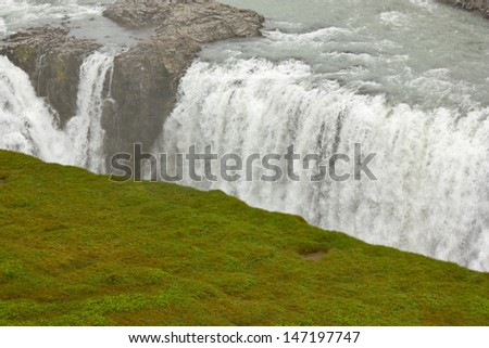 Lower cascade of Gullfoss waterfall in Iceland  - stock photo