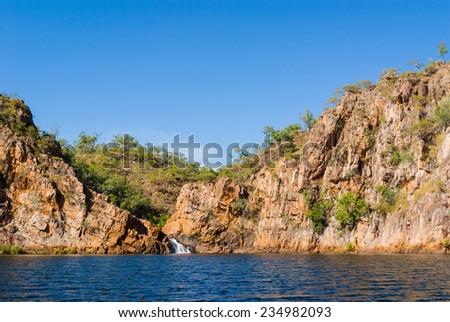 Lower falls and main pool at Edith Falls (Leliyn), Nitmiluk National Park, Northern Territory, Australia - stock photo