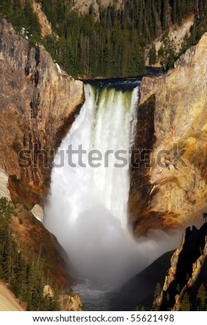 Lower Falls in Yellowstone National Park - stock photo