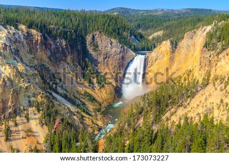 Lower Falls of the Grand Canyon of the Yellowstone National Park, Wyoming - stock photo