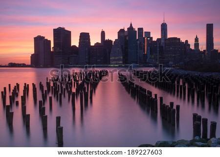 Lower Manhattan Beautiful Skyline at night, New York - stock photo