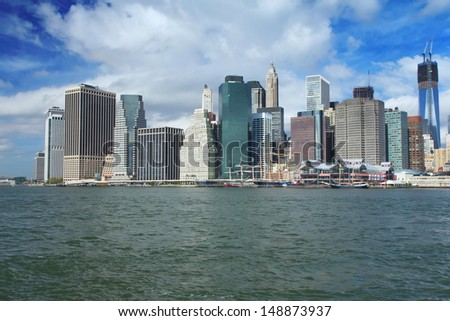 Lower Manhattan in a sunny morning (New York City)  - stock photo