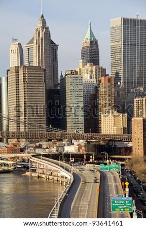 Lower Manhattan in sunrise, New York City, USA - stock photo
