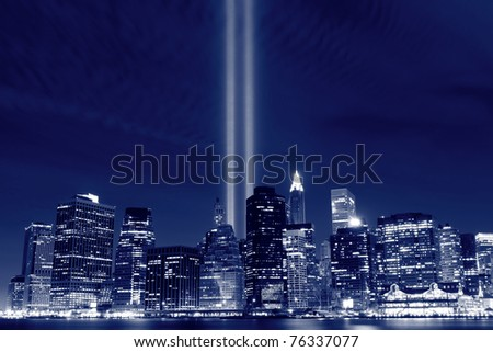 Lower Manhattan Skyline and the Towers Of Lights at Night - stock photo